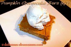 Crustless Pumpkin Cheesecake Bars (gluten and grain free)