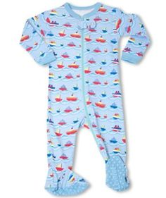 "Leveret Footed ""Boats"" Pajama Sleeper 100% Cotton (Size 6M-5T) (6-12 Months, Blues) Leveret. $11.99"