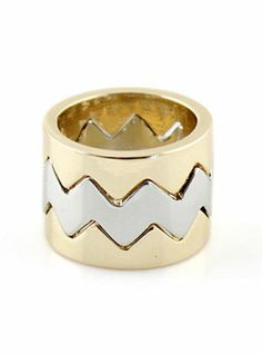 Gold Silver Zigzag Ring #SheInside #Ring #Gold #Silver #ZigZag