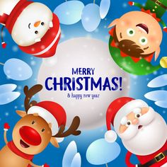 Merry christmas greeting card with santa claus, reindeer, elf and snowman Free Vector Merry Christmas Greetings Quotes, Merry Christmas Calligraphy, Merry Christmas Vector, Merry Christmas Ya Filthy Animal, Merry Christmas And Happy New Year, Christmas Greeting Cards, Happy Holidays, Christmas Scenes, Christmas Paper