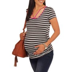 Glamour & Co Maternity Short Sleeve Striped Top with Neck Detail, Size: XL, Multicolor