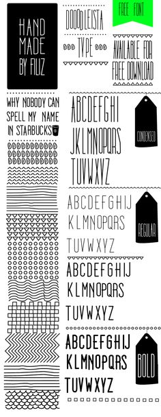 Free Font - Doodleista. (It comes in three weights along with an eps file with cute hand drawn patterns)
