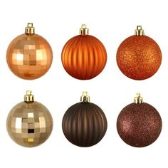 """100ct Brown & Orange 3-Finish Shatterproof Christmas Ball Ornaments 2.5"""" (60mm) Christmas Central"""