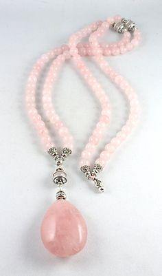 Rose Quartz Mala Necklace with gorgeous tactile Rose Quartz pendant… Mala Beads, Rose Quartz Mala Beads, 108 Beads, Yoga Jewelry, Yoga Style, Heart Chakra Necklace