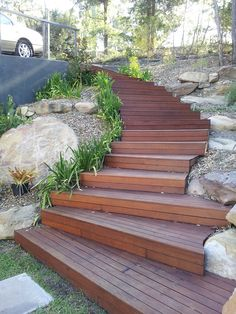 Image result for timber steps with lights