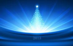 Wallpaper new year, christmas, tree, light, shine, star, blue