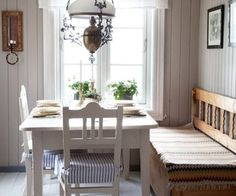 """a bit more unassuming than the grand Gustavian decors to the country east. The lamp is a nice touch (and appropriate for Norways's """"young"""" constitution) Swedish Kitchen, Swedish Cottage, Rustic Kitchen, Cottage Style, Swedish Decor, Country Kitchen, Scandinavian Home, Cozy House, Home Kitchens"""