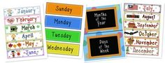 Days of the Week and Months of the Year Printables (free)