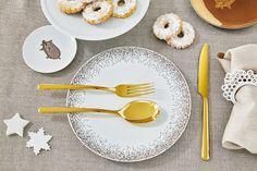 Sambonet Linea 24-delige bestekset - goud?   Woldring Tableware, Kitchen, Dinnerware, Cooking, Tablewares, Kitchens, Dishes, Cuisine, Place Settings