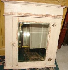 Beautiful Vintage Chippy Shabby Wooden Medicine Cabinet Beveled Mirror