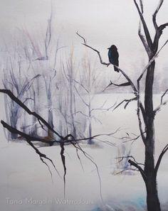 #bird #winter #tree #snow #watercolour #aquarelle #akvarell #akvarelli #landscape
