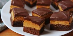 These chocolatey peanut buttery buckeye brownies from Delish.com are impossible to resist.