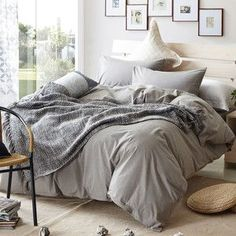 7201da2eac Grey Brief Plaid Design Bedding Set Queen king twin Size Duvet cover set  100% washed