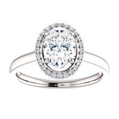 Oval Diamond Halo Engagement 14k