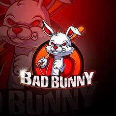 Dope Cartoon Art, Dope Cartoons, Team Logo Design, Mascot Design, Bunny Hunter, Logo Dragon, Hunter Logo, Bunny Painting, Bunny Logo