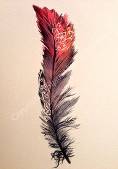 Feather watercolour painting in red by Siparia on Etsy