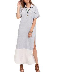 White Black V-neck Striped Split Casual Dress