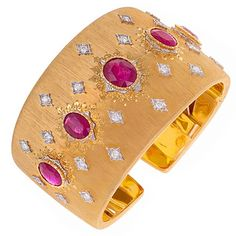 GOLD CUFFS AND BANGLES PINTEREST | Buccellati Diamond & Ruby Gold Cuff Bracelet | Baubles...