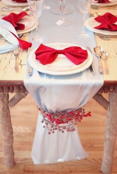 Décoration en blanc et rouge pour Noël
