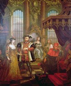 Henry VIII introducing Anne Boleyn at Court - by British Painter  William Hogarth, 18th century