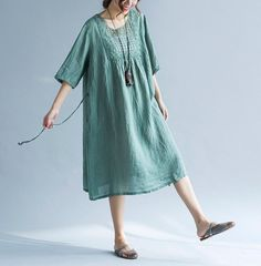Loose Green dress brown dress cotton and linen summer by MaLieb