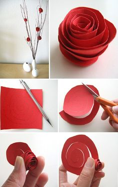 Decor craft: Paper Flower Centerpiece Tutorial  http://www.thecraftideas.com/decor/decor-craft-paper-flower-centerpiece-tutorial