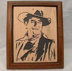 John (The Duke) Wayne Framed Wood Silhouette Art. $29.95, via Etsy. @CRAFTWORKDESIGNS