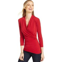 Charter Club Crossover Wrap Top ($40) ❤ liked on Polyvore featuring tops, cardinal red, cross over top, wet look top, red wrap top, red top and surplice top