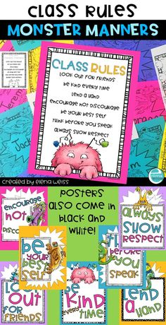 Promote positive behavior. Posters for any classrom. Class Rules! Monster manners! Includes 7 posters in full color and 7 posters in B&W. Also includes, writing paper and name cards! Each poster can be used as a writing prompt!