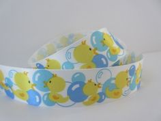 Duck Ribbon 7/8 inch wide Blue Bubbles Nursery by DanJSupplies, $1.95