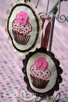 Fabric cupcake ornaments