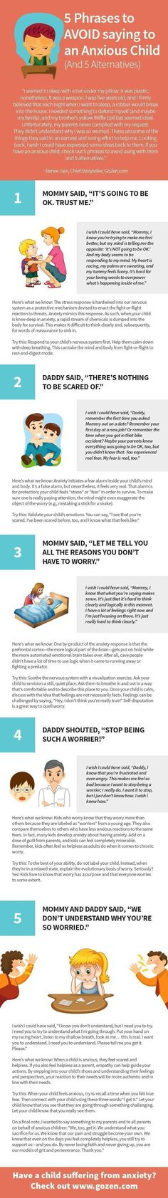 This infographic tells a story about how parents–with great love and affection–try to help their anxious children. It also tells a silent tale about what those children wish they could express to their parents about how they truly feel.    //... #pregnancyhacks #parentinginfographic