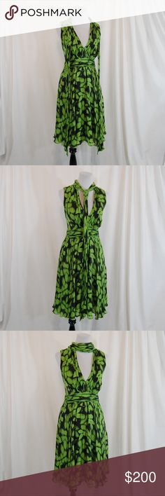 """Badgley Mischka 100% Silk Tie Neck Dress Attached ties at neck can be worn in many ways (see pics) Fully lined skirt 100% silk Side zipper w/ 3 buttons over it Ruched at waist (very flattering).  Great condition w/ minimal wear/snags. There is 1 missing button, a sewn tear at the inside of the collar/attached tie (can't see when wearing), & the interior brand label came unattached at one side - invisible when wearing! See last pics.  Sold AS-IS  Approx. measurements (taken flat): Bust =20""""…"""