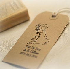 UK Map Save The Date Stamp