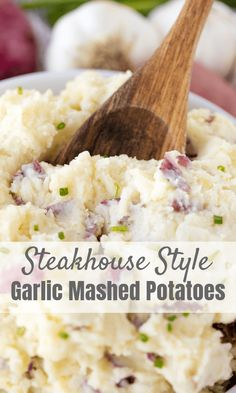 Perfect Steakhouse Style Garlic Mashed Potatoes are a classic side dish. They are creamy and have a punch of garlic flavor. This recipe will make you feel like you are eating in a restaurant!