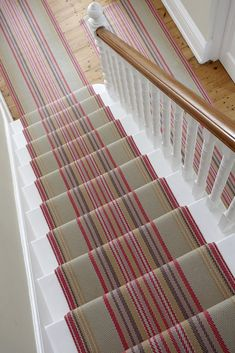 Chatham stair-runner, designed by Roger Oates. To purchase this stair-runner email websales Striped Carpet Stairs, Striped Carpets, Stair Carpet, Hallway Carpet, Hallway Flooring, Staircase Makeover, Basement Makeover, Stair Rods, Painted Stairs