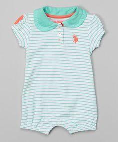Look at this #zulilyfind! Aqua Stripe Peter Pan Collar Romper - Infant by U.S. Polo Assn. #zulilyfinds