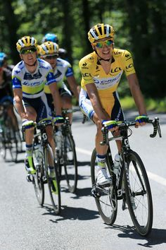 ALBI, FRANCE - JULY 05: Daryl Impey of South Africa riding for Orica-GreenEDGE ride in the peloton as he defended the overall race leader's yellow jersey in stage seven of the 2013 Tour de France, a 205.5KM road stage from Montpellier to Albi, on July 5, 2013 in Albi, France. (Photo by Doug Pensinger/Getty Images)