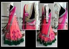designer lehenga saree with lovely combination. Half Saree Designs, Lehenga Designs, Blouse Designs, Punjabi Fashion, India Fashion, Asian Fashion, Indian Attire, Indian Ethnic Wear, Indian Dresses