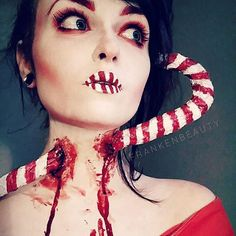 'Candy Cane Accident' special effects makeup by @frankenbeauty