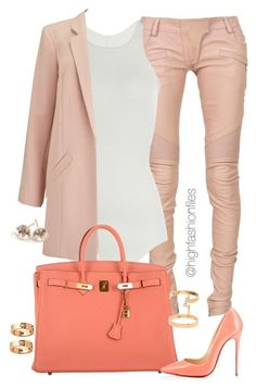 Peach  Coral by highfashionfiles ❤ liked on Polyvore featuring Balmain, Rick Owens, Miss Selfridge, Hermès, Christian Louboutin, Cartier, Repossi, Ippolita, womens clothing and women