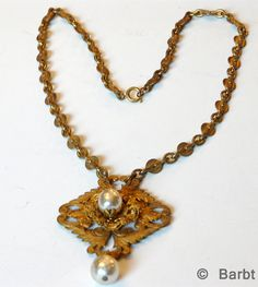 Miriam Haskell Brass and Baroque Pearl by BarbsCostumeJewelry, $200.00