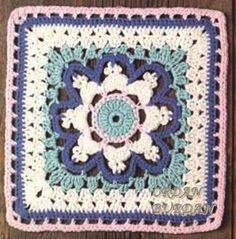 Crochet granny square with a star