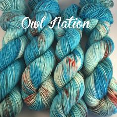 Owl Nation! Owls will rule the world! OK not really, but it is awesome and from our Everything Owls Collection available on: Hocus-Pocus Sock: 438 yards. Sock weight. 100g skeins. 100% Superwash Merin