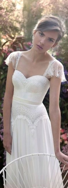 Capped sleeves lace empire waist wedding dresses