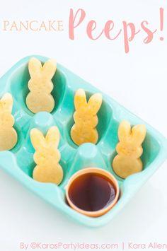 Pancake PEEPS! Pancake bunny dippers recipe via Kara's Party Ideas | Kara Allen | KarasPartyIdeas.com