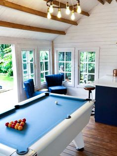 Incredible Garden games room That right there 👌🏻 Thank you to Zoe for sending the pics of their incredible games room and bar, plenty of to be had. The pool table is a Supreme Winner and looks amazing 🎱 Pool Table Sizes, Pool Table Room, Outdoor Pool Table, Pool Tables, White Pool Table, Garden Bar Shed, Garage Game Rooms, 4 Season Room, Houses