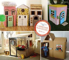 Obsessed: Refrigerator Boxes Playhouses -- sort of Cardboard Houses For Kids, Cardboard Boxes, Cardboard Crafts, Early Childhood Activities, Fun Activities For Toddlers, Toddler Play, Toddler Stuff, Kid Stuff, Diy Playhouse