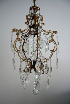 Antique Vintage Cage Style Brass Crystals Beautiful Chandelier from 1950'S | eBay