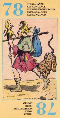 LXXVIII.  The Fool -  Esoteric Ancient Tarot by Francoise Alliette aka Etteilla (Alliette spelled backwards).